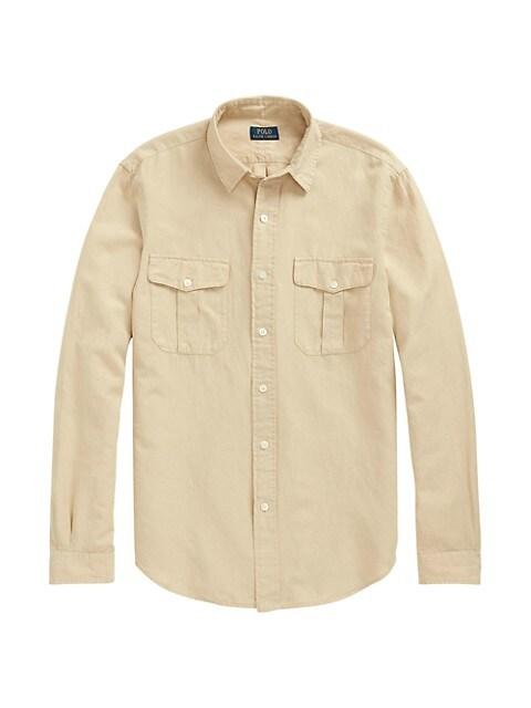 Linen-Blend Utility Shirt