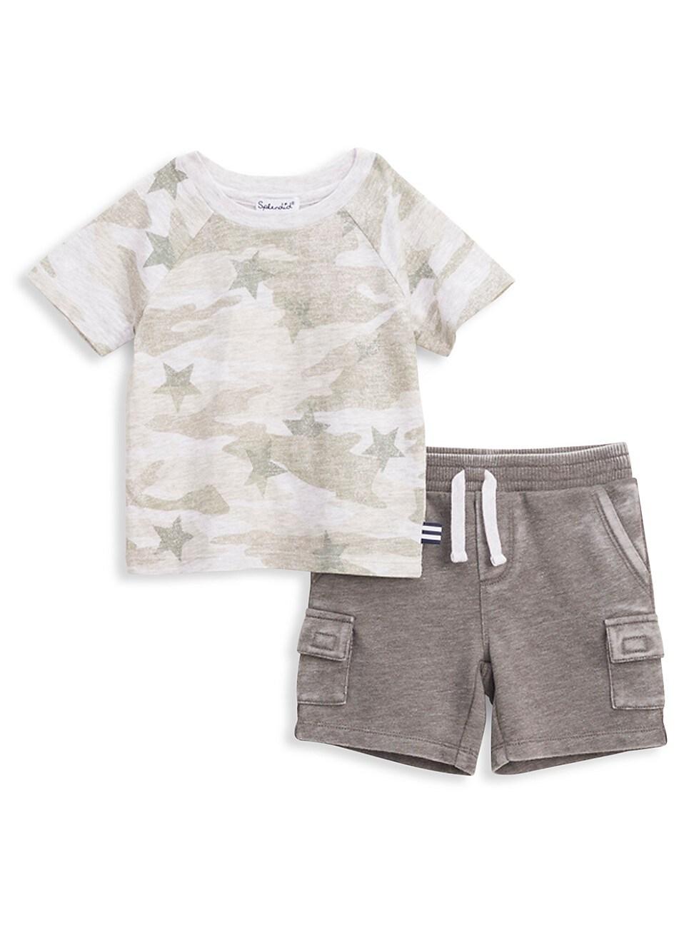 Splendid Sets BABY BOY'S 2-PIECE STAR CAMO T-SHIRT & SHORTS SET