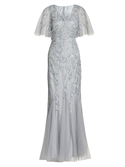 Beaded Tulle Flutter-Sleeve Gown
