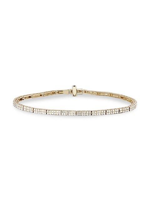 14K Yellow Gold & Diamond Double-Row Eternity Bracelet