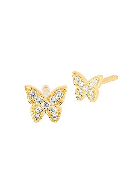 14K Yellow Gold & Diamond Single Baby Butterfly Stud Earring