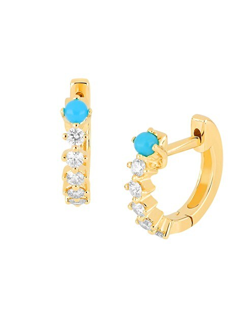 14K Yellow Gold, Diamond & Turquoise Mini Huggie Hoop Earrings