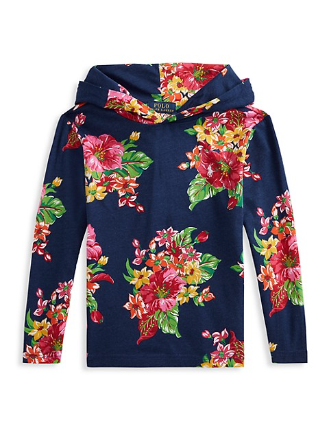 Little Boy's and Boy's Floral Cotton Hoodie