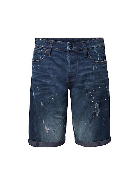 Scutar 3D Paint-Splatter Distressed Denim Shorts