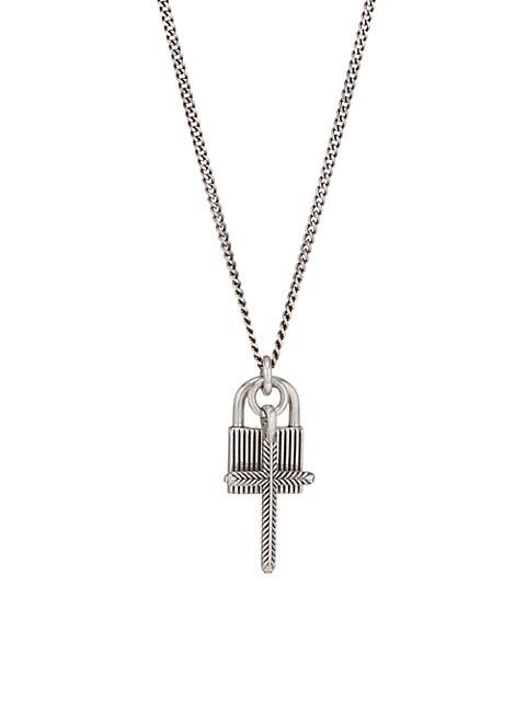 Sterling Silver Padlock Cross Pendant Necklace