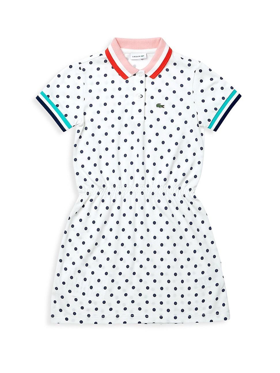 Lacoste Cottons LITTLE GIRL'S & GIRL'S POLKA DOT COTTON PIQUÉ POLO DRESS