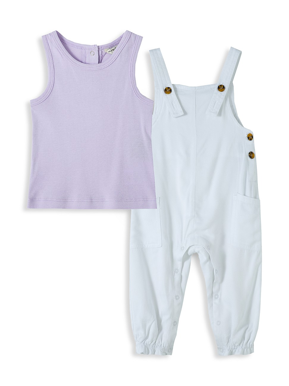 Habitual Cottons BABY GIRL'S 2-PIECE OVERALL SET