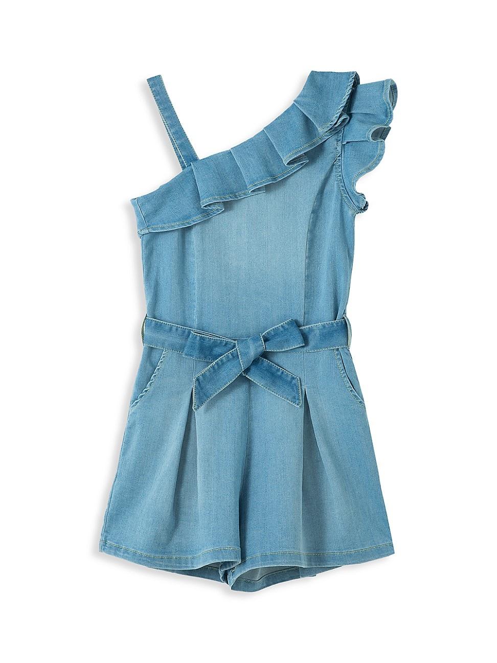 Habitual Dresses GIRL'S OFF-THE-SHOULDER BELTED ROMPER
