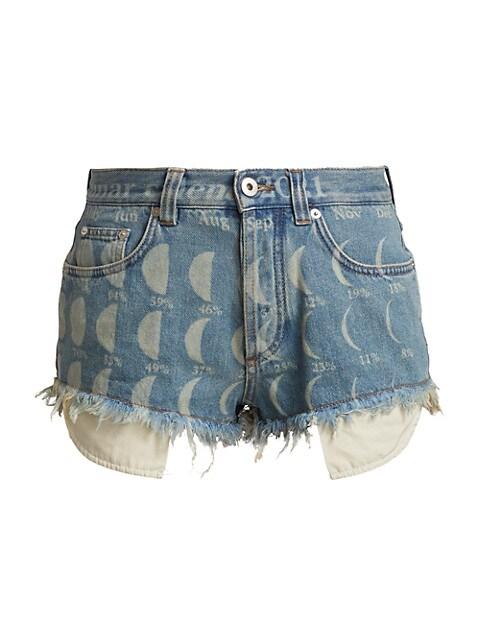 Moon-Print Denim Shorts