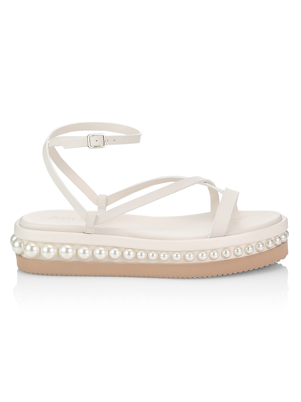 Jimmy Choo Women's Pine Faux Pearl-embellished Leather Platform Sandals In Latte White