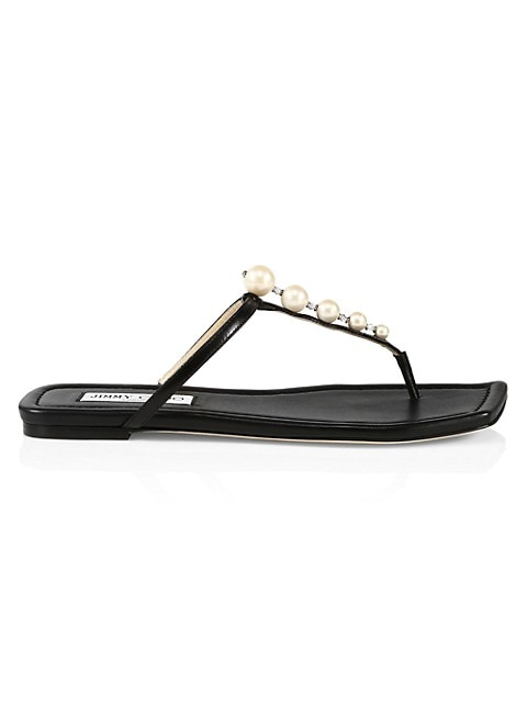 Alaina Faux Pearl-Embellished Leather Sandals