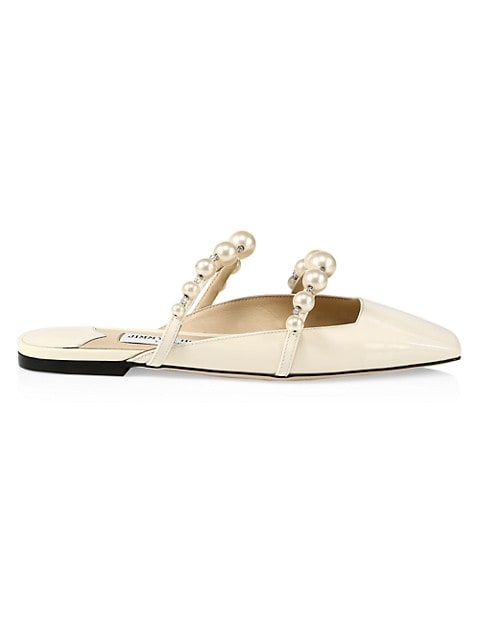 Amaya Faux Pearl-Embellished Patent Leather Mules