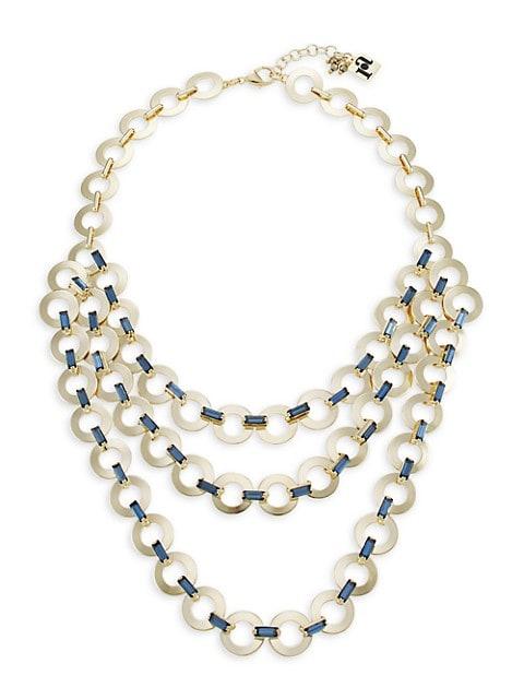 Rondella Goldtone & Crystal Layered Necklace