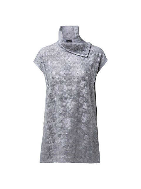 Trapezoid Embroidered Wool-Blend Top