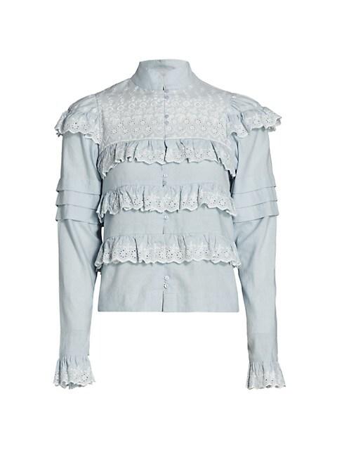 Ruffle Trim Linen Shirt
