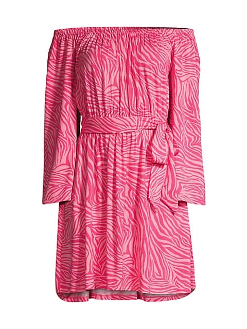 Zebra Off-The-Shoulder Mini Dress