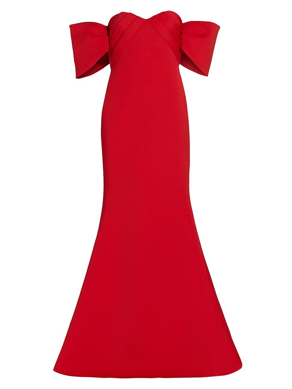Badgley Mischka Gowns WOMEN'S SCUBA OFF-THE-SHOULDER GOWN