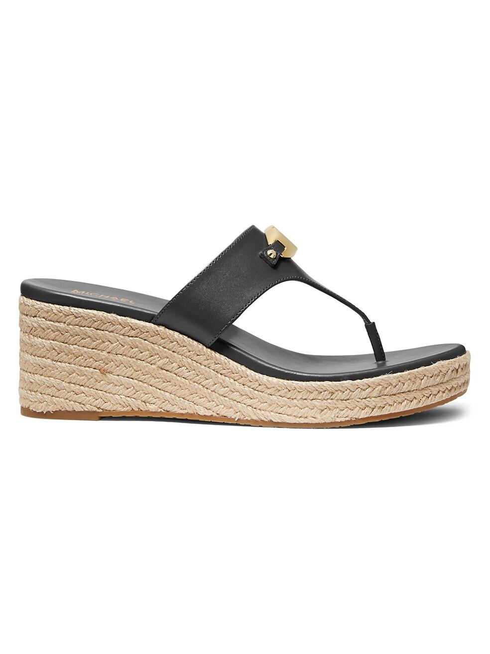 마이클 코어스 Michael Kors Tilly Leather Espadrille Thong Wedge Sandals,BLACK