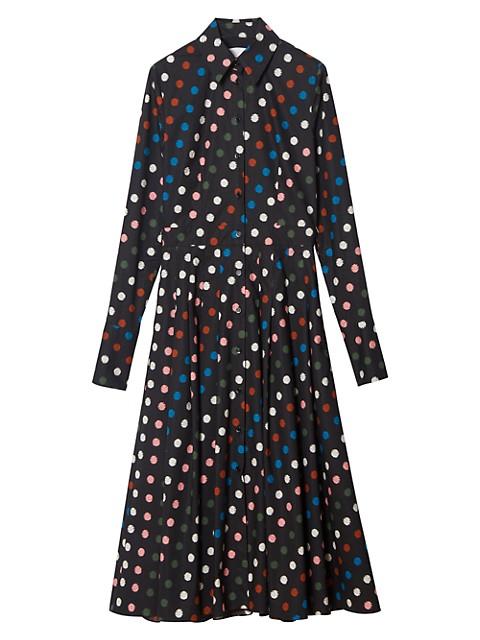 Multicolor Polka Dot Long-Sleeve Shirtdress