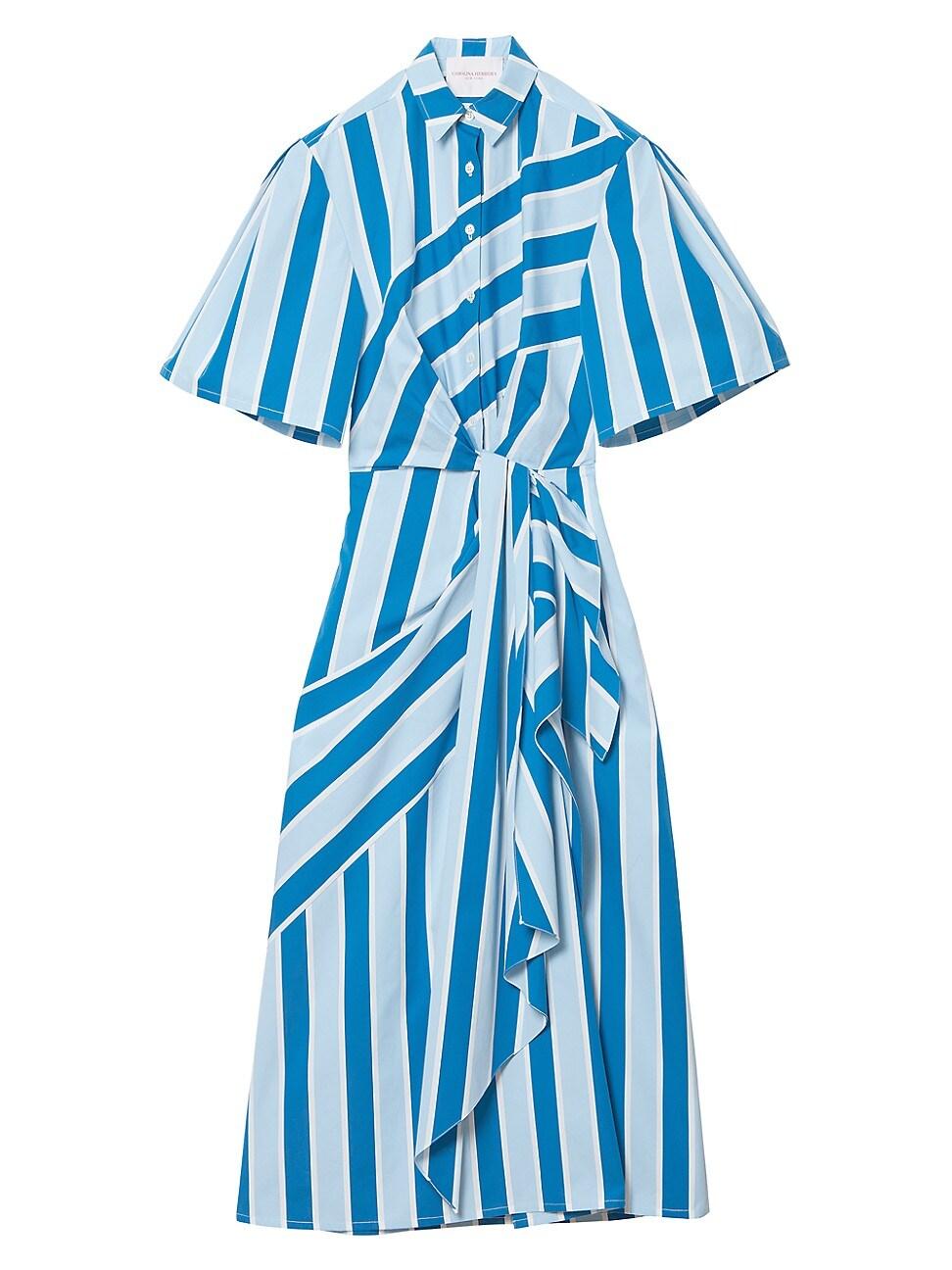 Carolina Herrera Striped Wide-sleeve Side-twist Shirtdress In Blue Multi