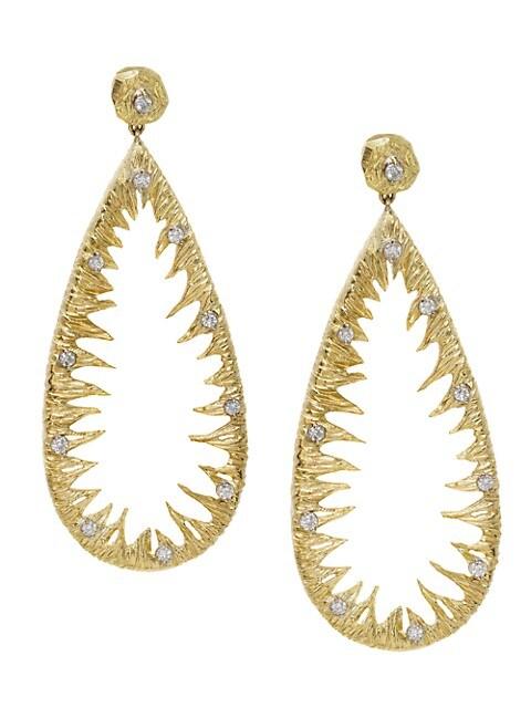 Shark Tooth 18K Yellow Gold & Diamond Pear Drop Earrings