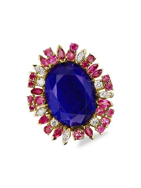 18K Yellow Gold, Lapis Lazuli Sapphire, Ruby & Diamond Ring