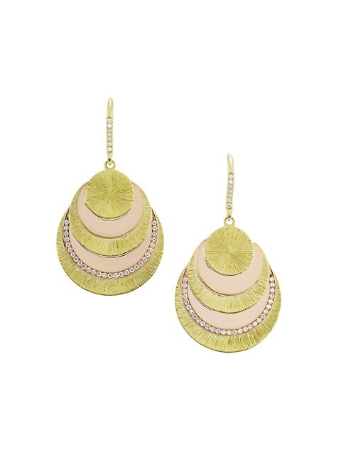 Two-Tone White Diamond Fan Drop Earrings
