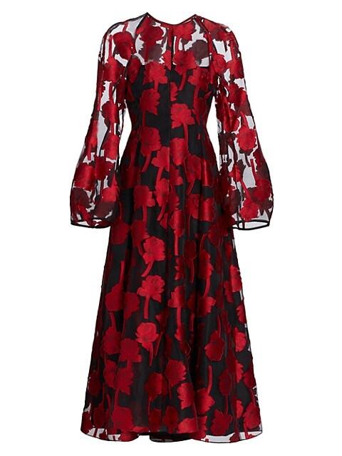 Rose Fil-Coupé Midi Dress