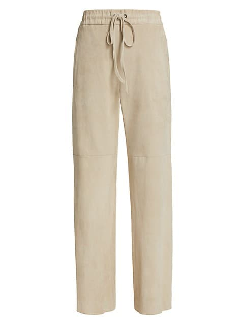 Wide-Leg Suede Trousers