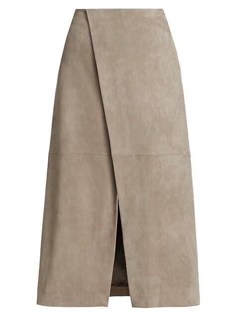 Suede Wrap Midi Skirt