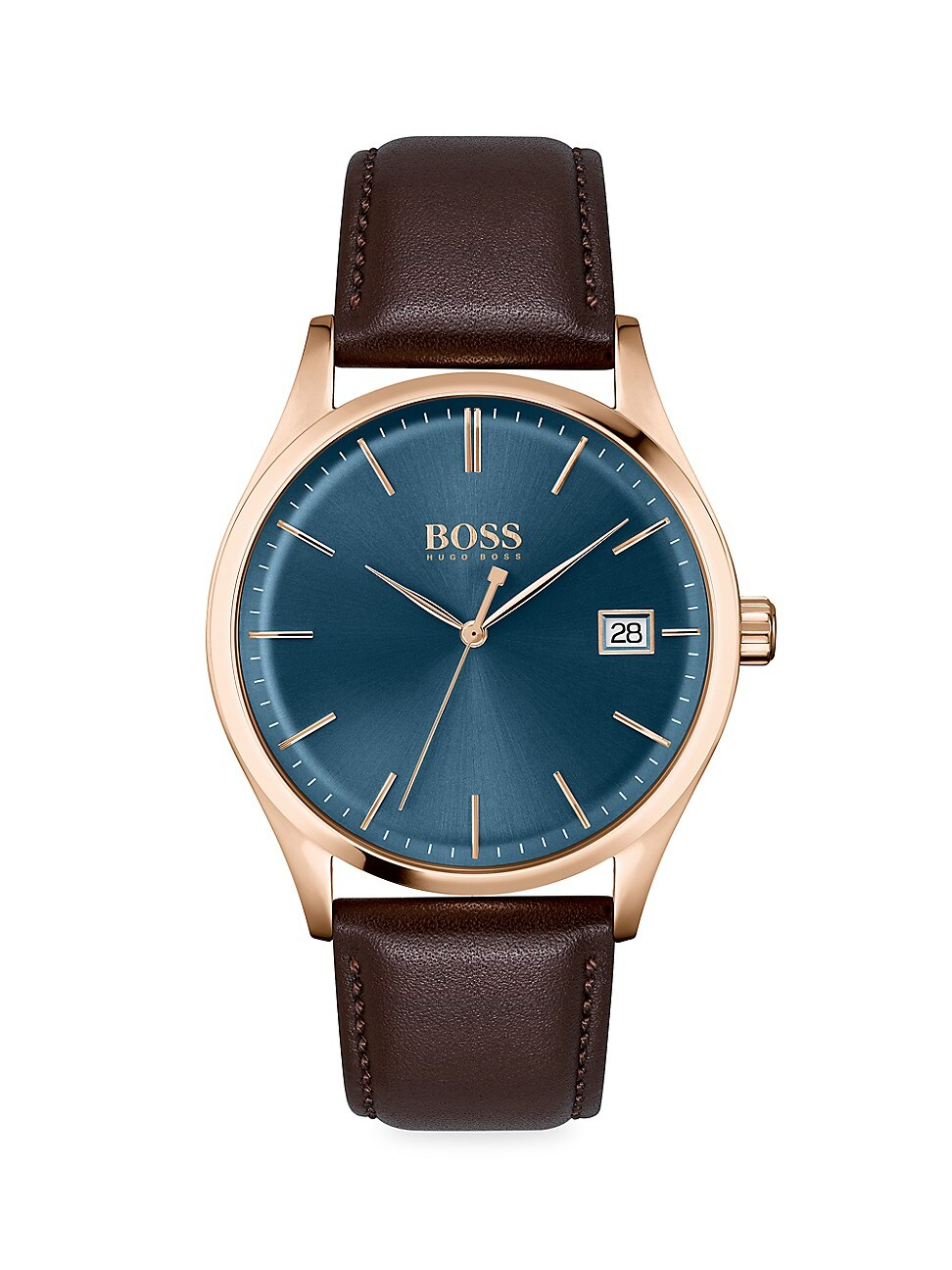 Hugo Boss COMMISSIONER ROSE GOLDTONE STAINLESS STEEL & LEATHER-STRAP WATCH
