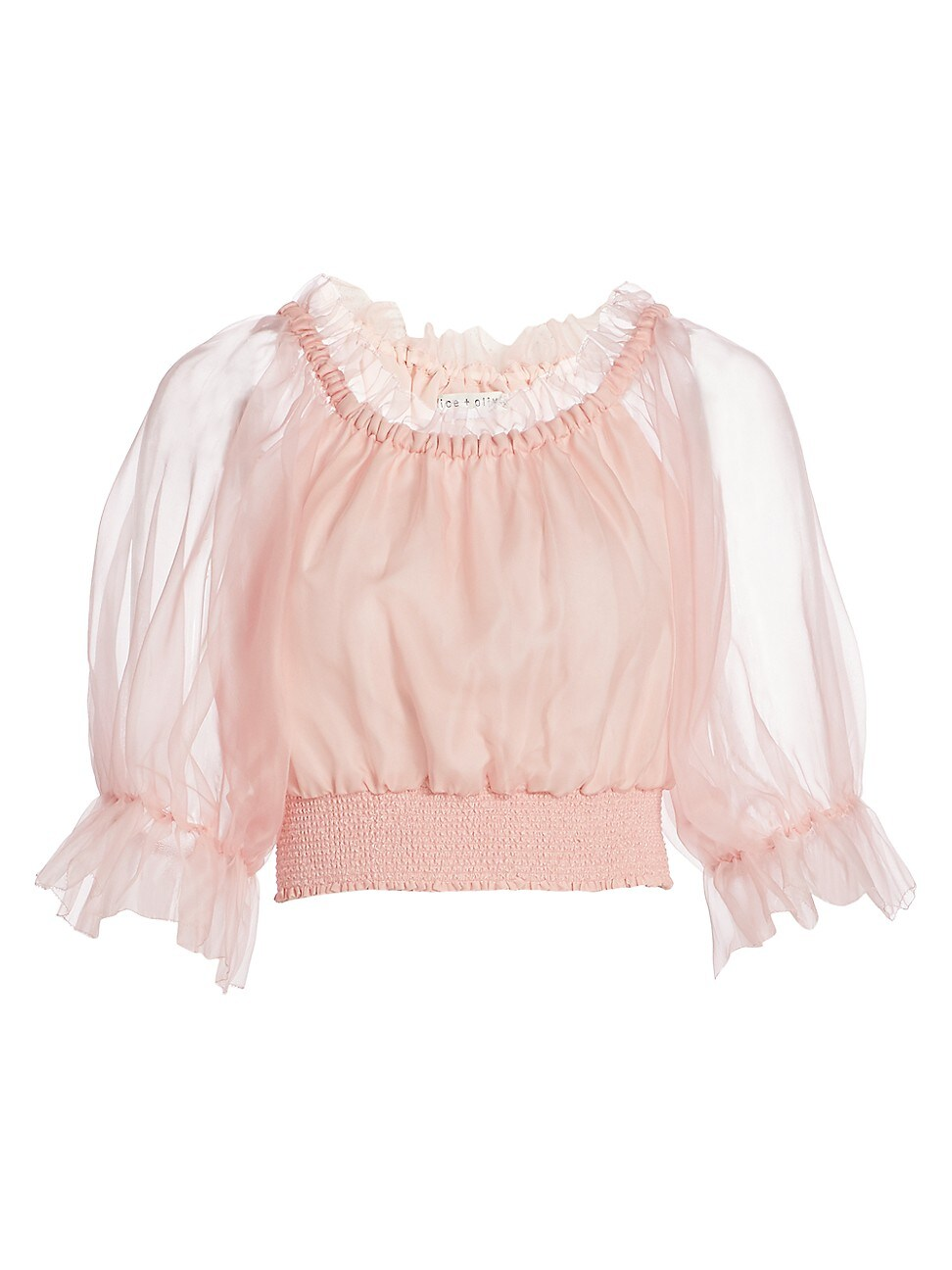 Alice And Olivia Tops WOMEN'S CAPRINA OFF-THE-SHOULDER SILK CROP BLOUSE