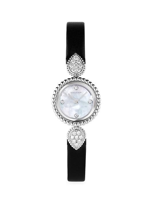 Boucheron Serpent Bohème Stainless Steel, Diamond & Leather Strap Watch