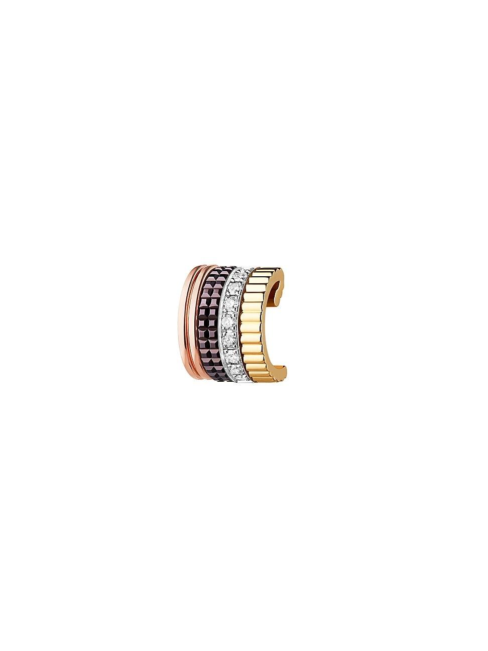 Boucheron WOMEN'S QUATRE CLASSIQUE 18K TRI-TONE GOLD, DIAMOND & BROWN PVD SINGLE EAR CUFF