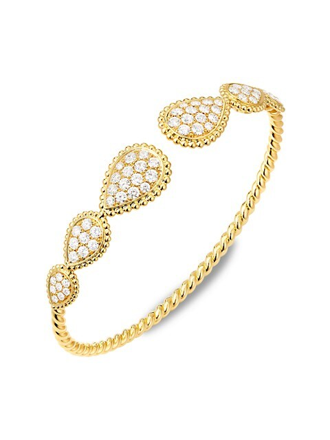 Serpent Bohème 18K Yellow Gold & Diamond Multiple-Motif Open Bangle Bracelet