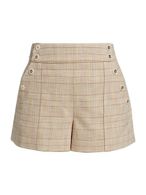 Pine Sailor Button Plaid Shorts