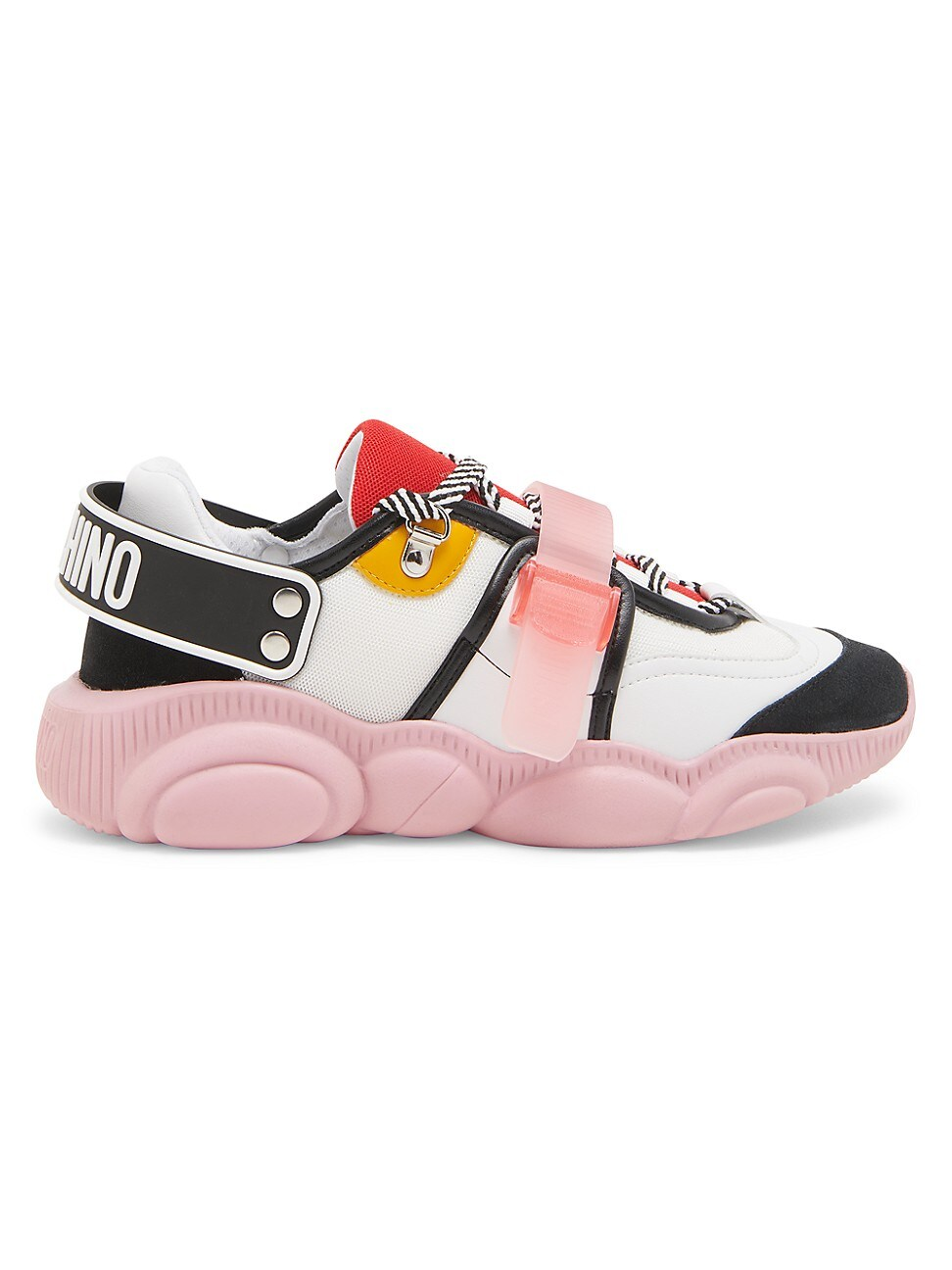 Moschino Women's Teddy Mix Media Sneakers In Black White Pink