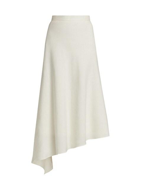 Mazie Asymmetric Linen-Blend A-Line Skirt