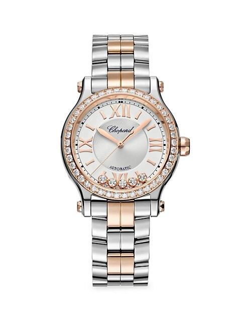 Happy Sport 18K Rose Gold, Stainless Steel & Diamond Bracelet Watch