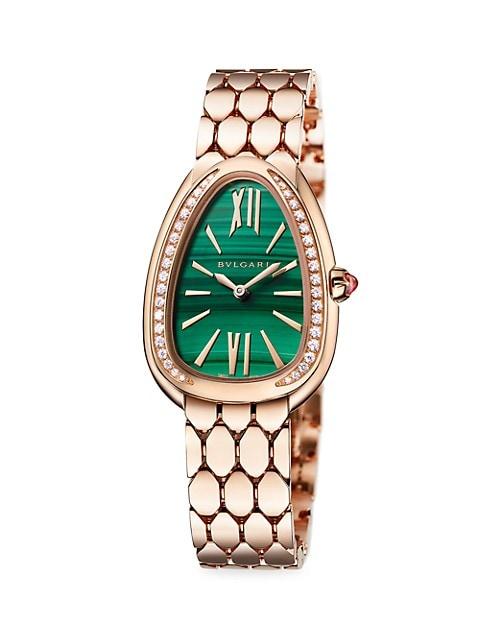 Lady Serpenti Seduttori 18K Rose Gold, Diamond & Malachite Dial Bracelet Watch