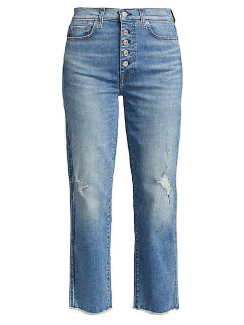 High-Rise Raw-Edge Cropped Straight-Leg Jeans