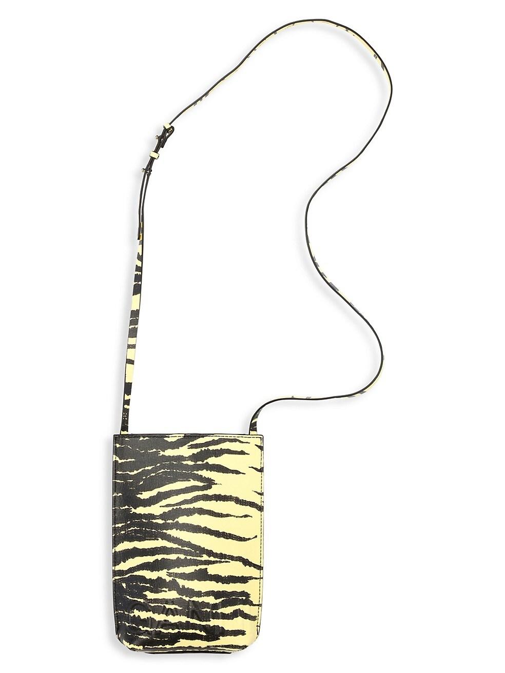가니 크로스백 - 미니 타이거 스트라이프 (예리 착용)  Ganni Small Tiger Sripe Leather Crossbody Bag,PALE BANANA