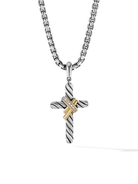 X Cross Pendant With 18K Yellow Gold & Pavé Diamonds