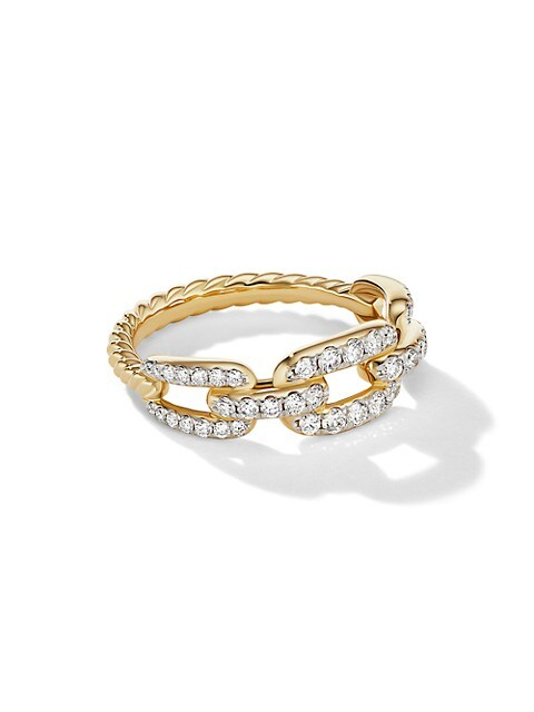 Stax 18K Yellow Gold & Pavé Diamond Chain Link Ring