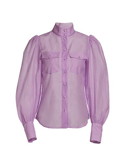 Puff-Sleeve Semi-Sheer Blouse