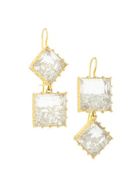 18K Yellow Gold & Diamond Mixed Shape Drop Earrings