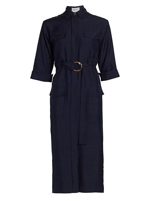 Belted Silk Dupioni Midi Shirtdress