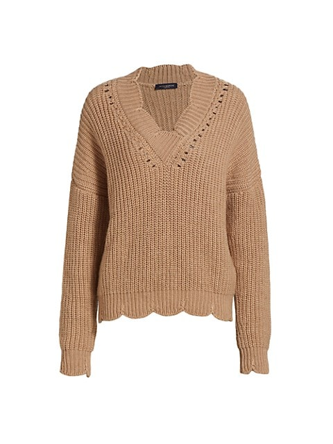Scallop V-Neck Sweater