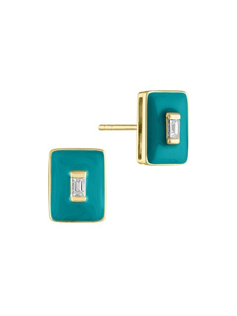 Enamel Marissa 14K Yellow Gold, Diamond & Turquoise Enamel Stud Earrings