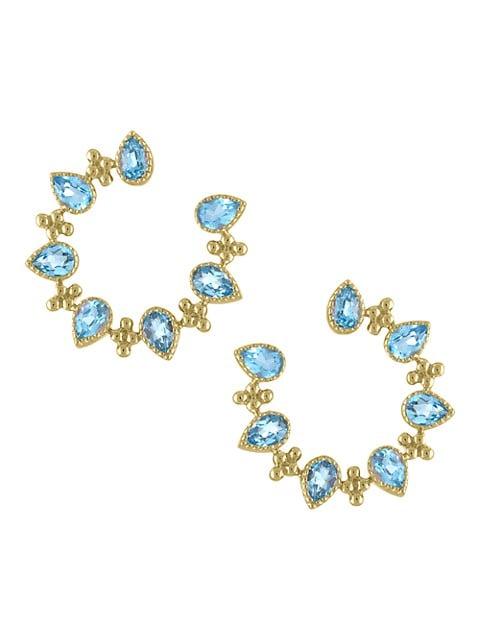 Piper 14K Yellow Gold & Blue Topaz Front-Facing Hoop Earrings